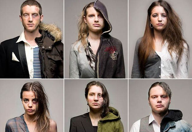 "London-based photographer Roman Sakovich produced this project 'Half' while he was studying photography at the Arts University College at Bournemouth. He photographed subjects in the studio using make-up ""in order to explore the outsiders superficial judgement of the same person before and after drug abuse"". After which, he combined the before and after images into one in order to make the change more visible."